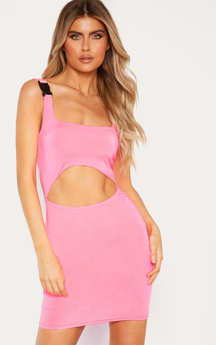 Tall Neon Pink Buckle Detail Bodycon Dress 2