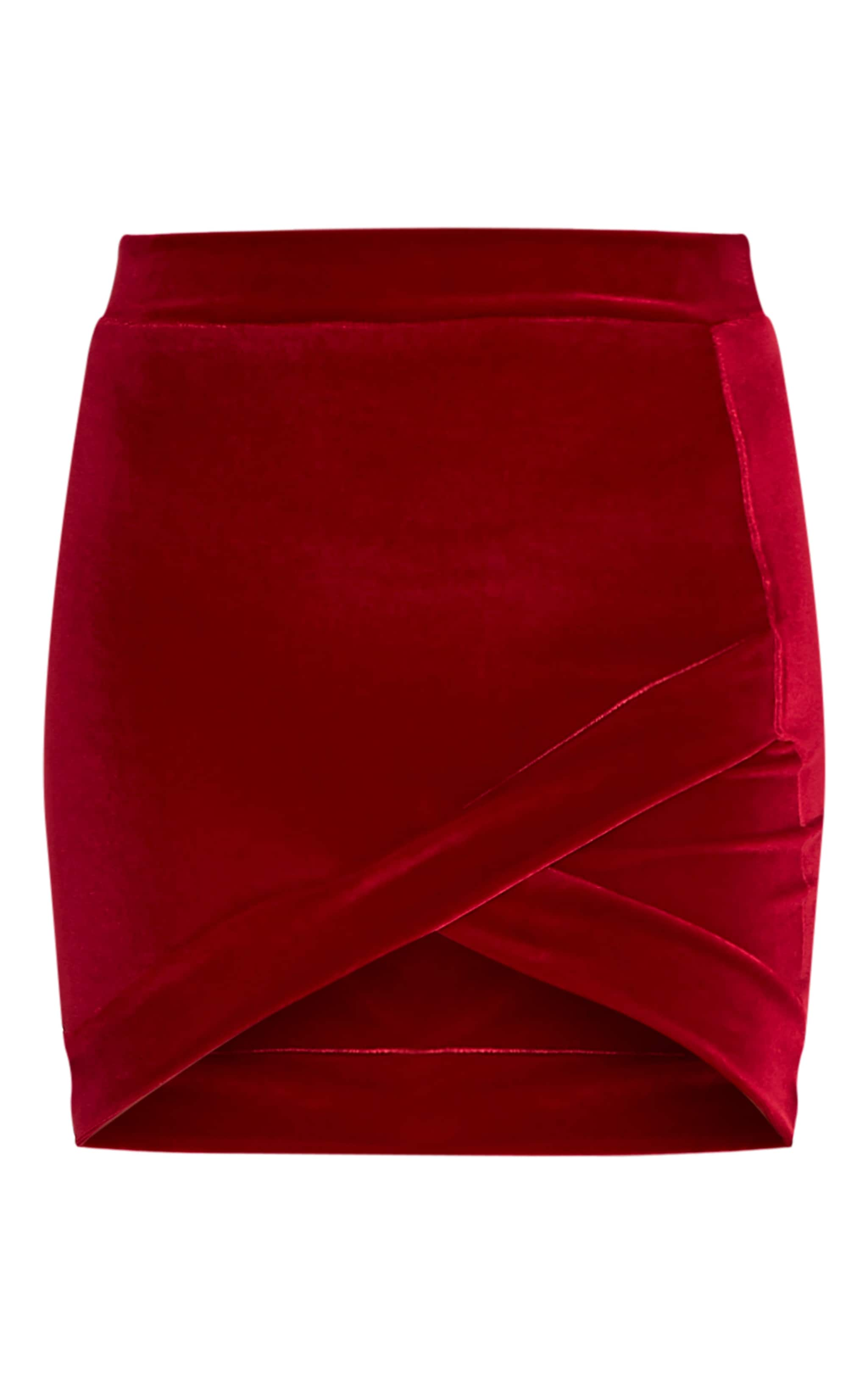 Gabriella Burgundy Velvet Asymmetric Mini Skirt 3