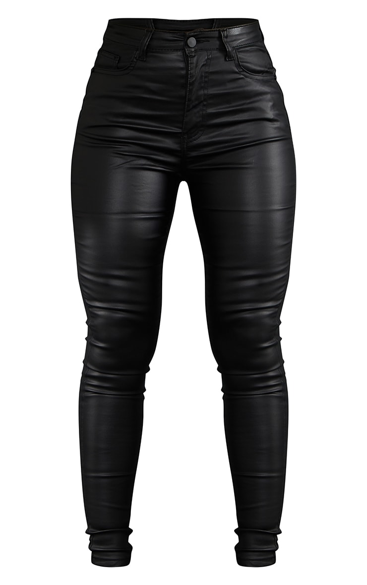 Black 5 Pocket Coated Skinny Jean 5