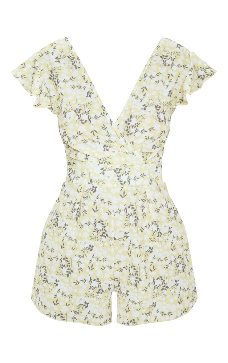 Yellow Ditsy Floral Wrap Romper 3
