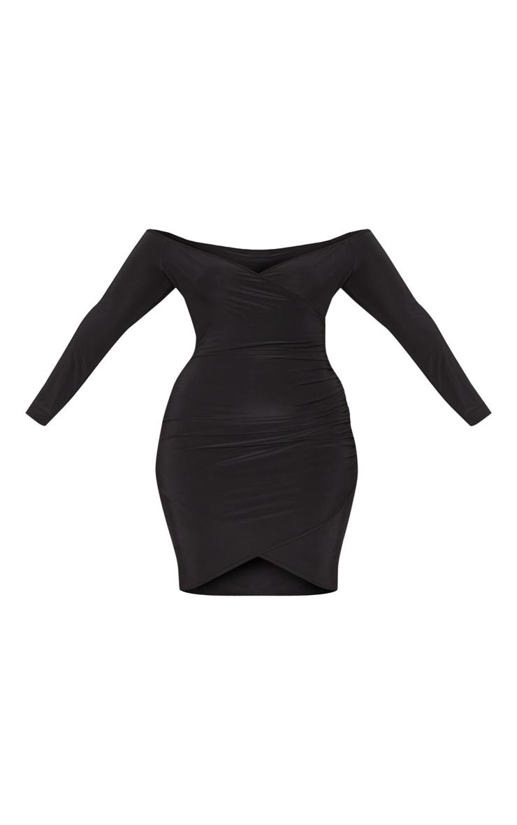 Plus Black Slinky Ruched Detail Bardot Bodycon Dress 3