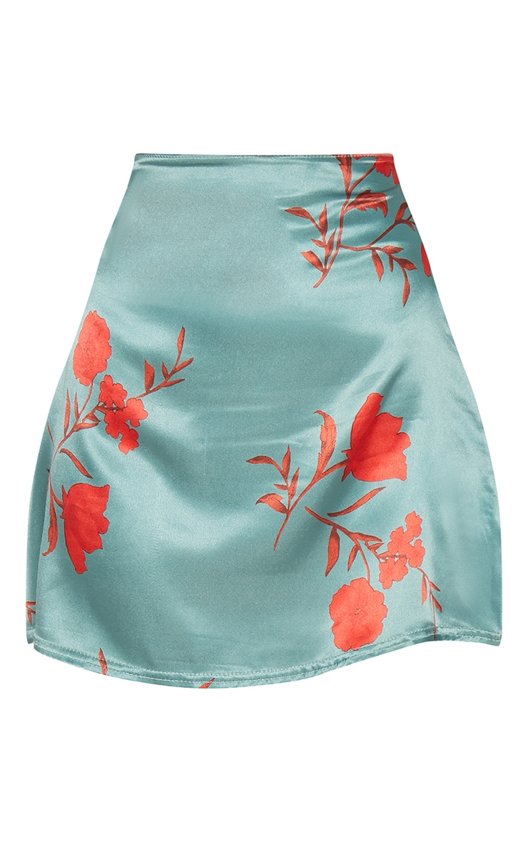 Green Floral Satin A Line Mini Skirt 3