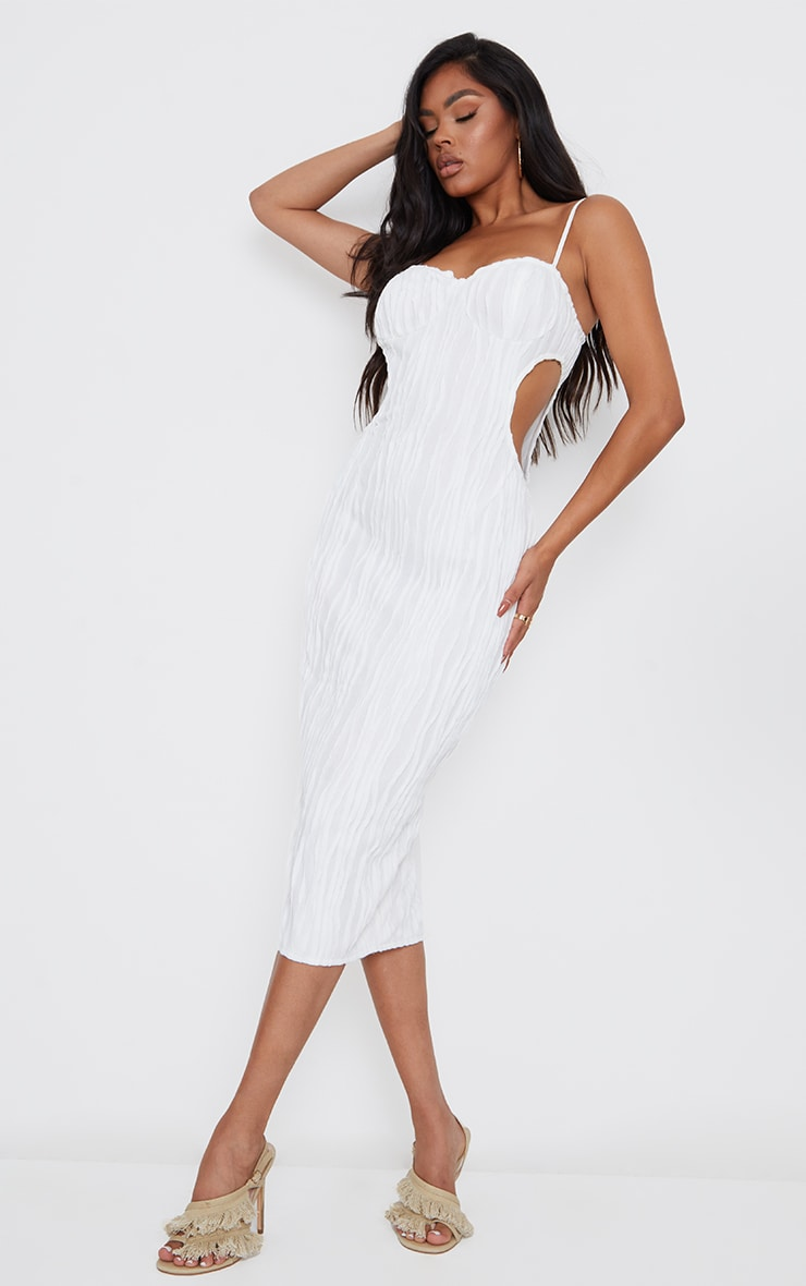 White Exposed Seam Strappy Cut Out Cup Detail Midi Dress 3