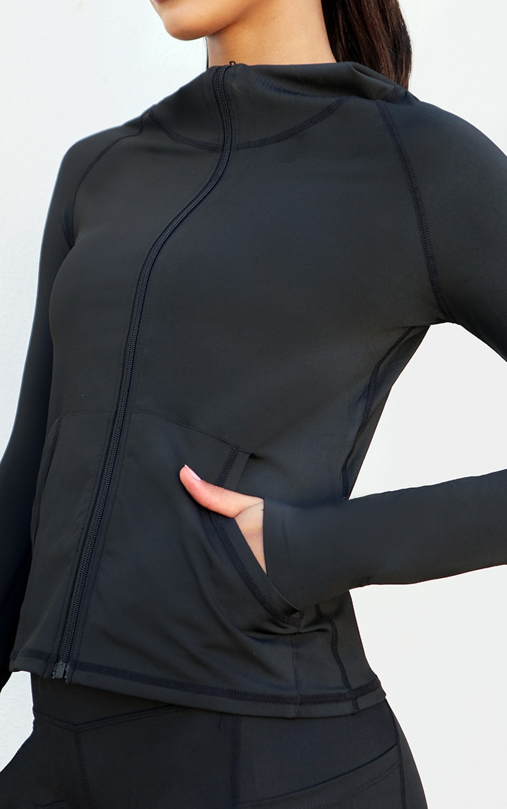 Black Zip Through Hooded Gym Top 4