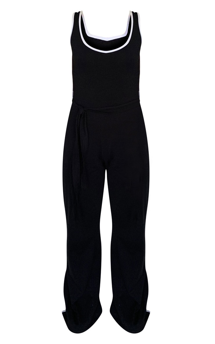 Black Sports Stripe Wide Leg Split Hem Jumpsuit 5