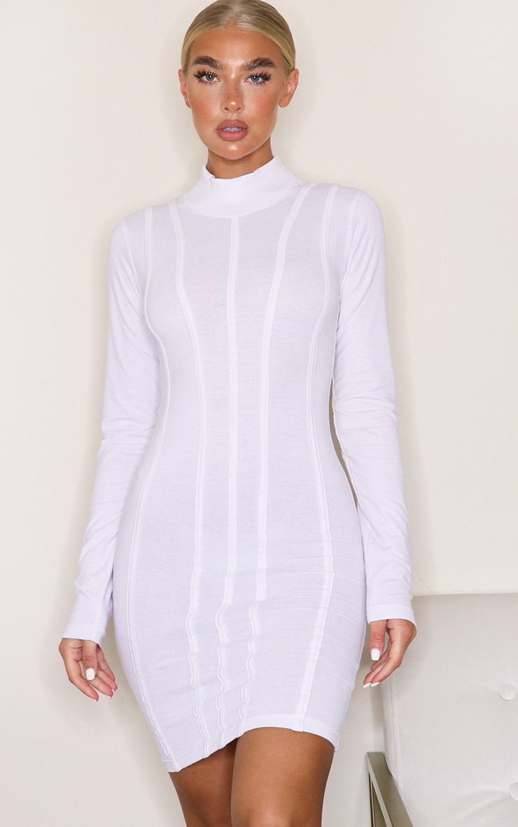 White High Neck Binding Detail Long Sleeve Bodycon Dress 4