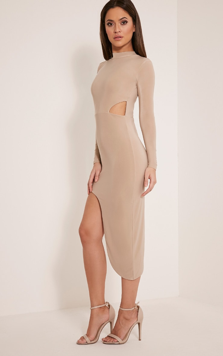 Avia Nude Cut Out Asymmetric Midi Dress 5