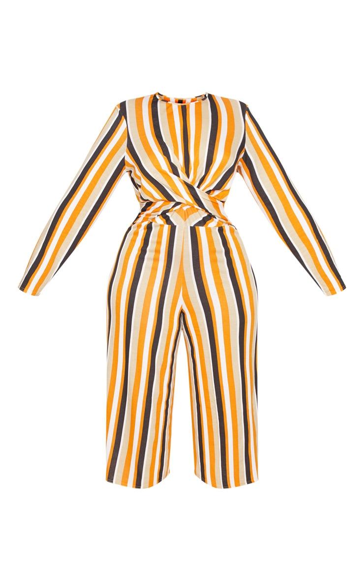 Plus Orange Twist Front Stripe Culotte Jumpsuit 3