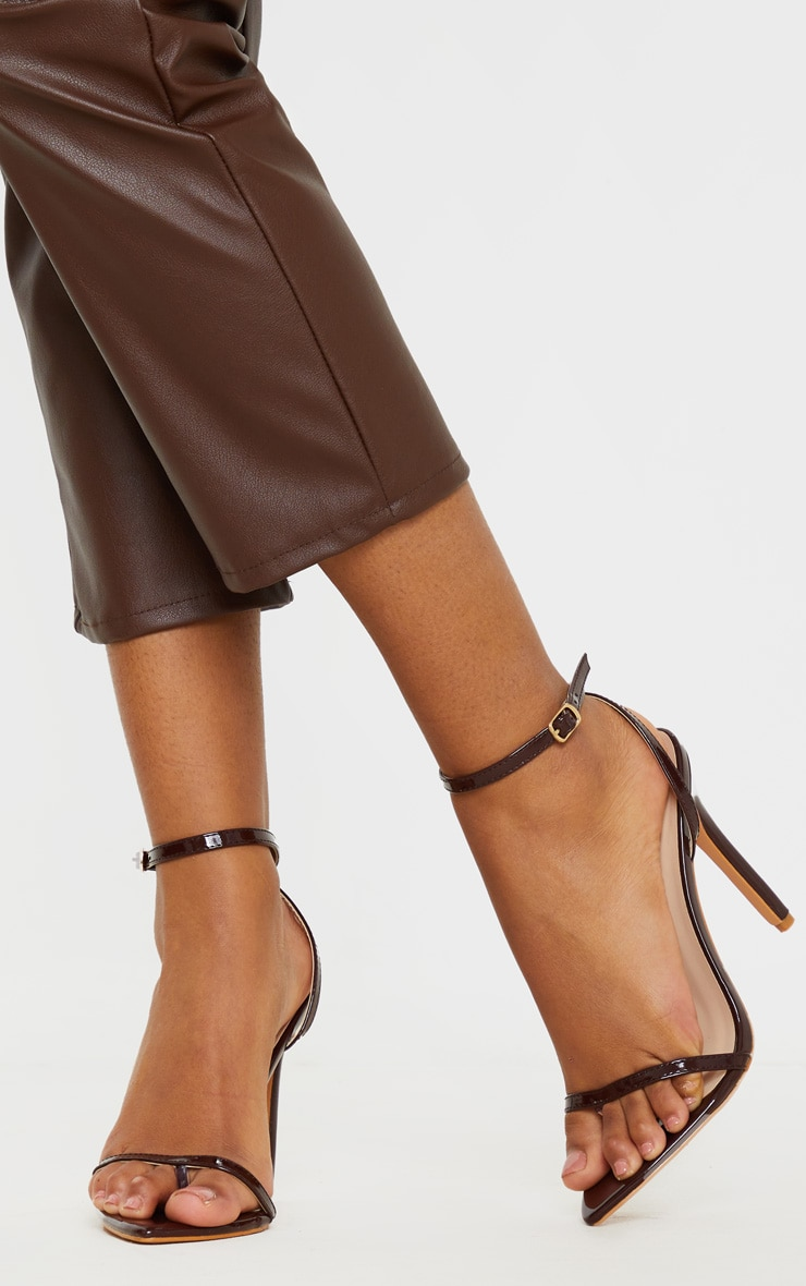Chocolate Toe Thong Ankle Strap Point Toe Heeled Sandal 1