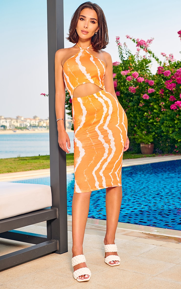 Orange Tie Dye Halterneck Cut Out Midi Dress 1