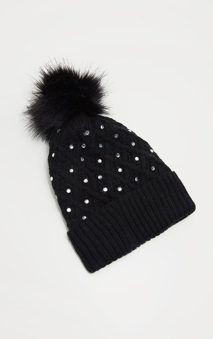 Black Diamante Faux Fur Pom Pom Knitted Hat 2