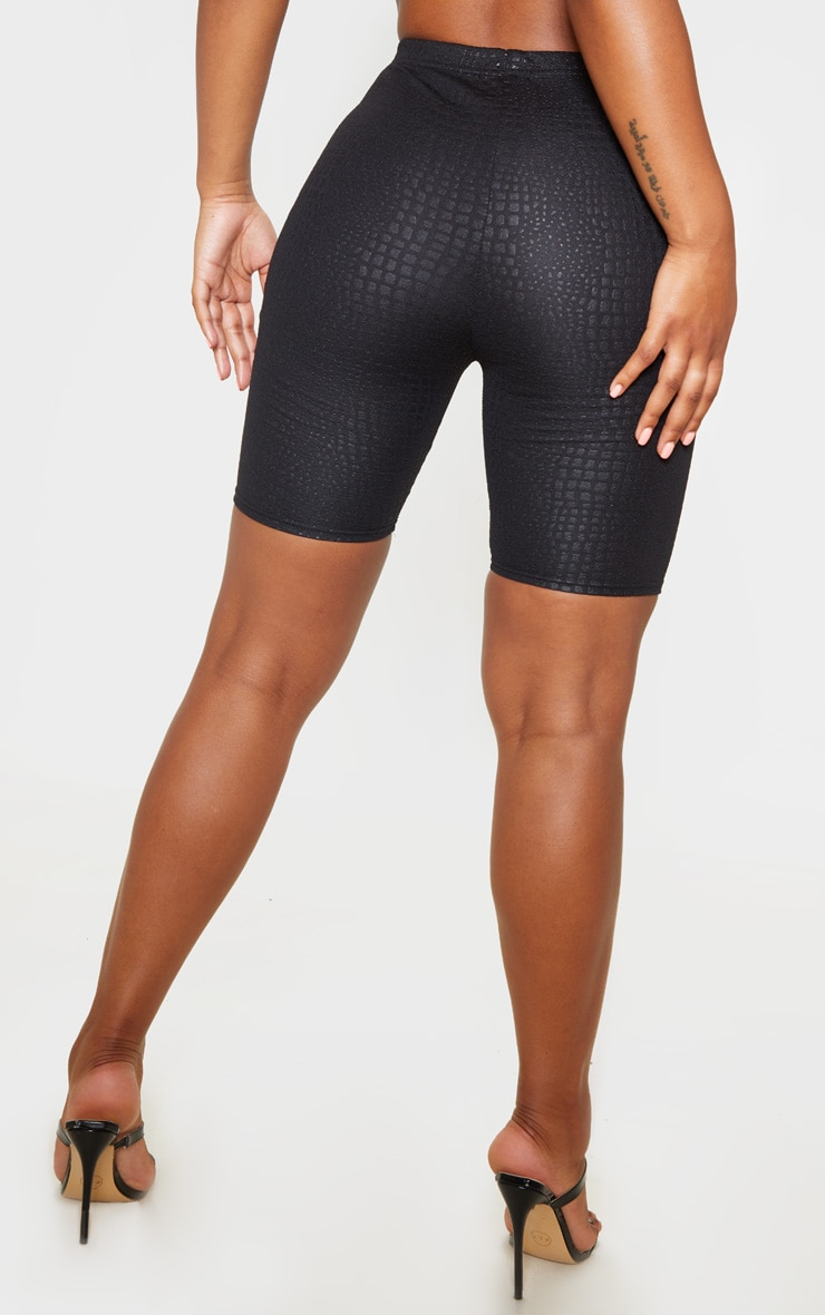 Black Croc Print Cycle Short 4