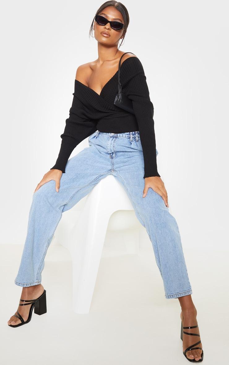 Black Wrap Off The Shoulder Sweater 4