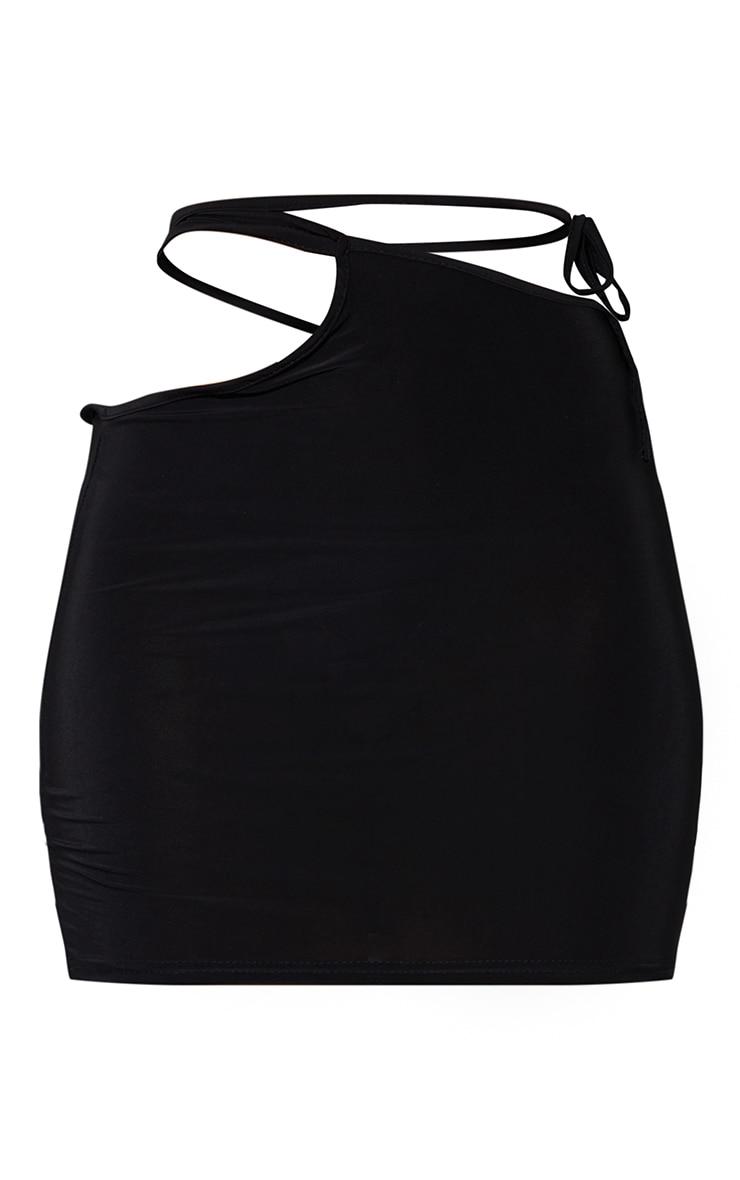 Black Cut Out Multiway Tie Waist Slinky Mini Skirt 6