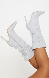Silver Glitter Slouch Heeled Boot 1