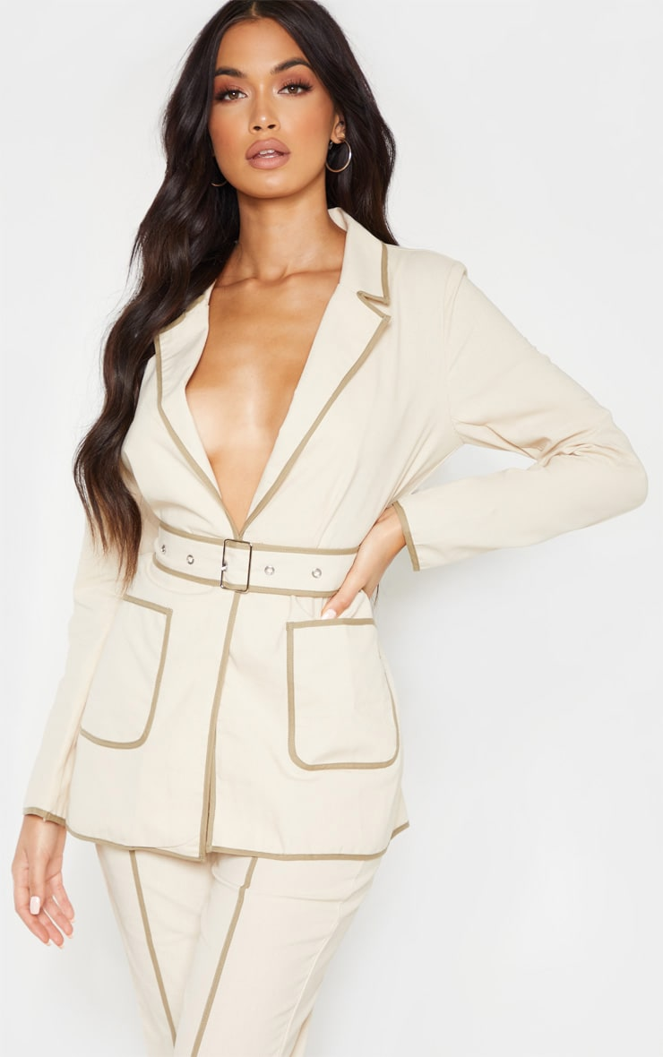 Stone Linen Belted Woven Blazer    1