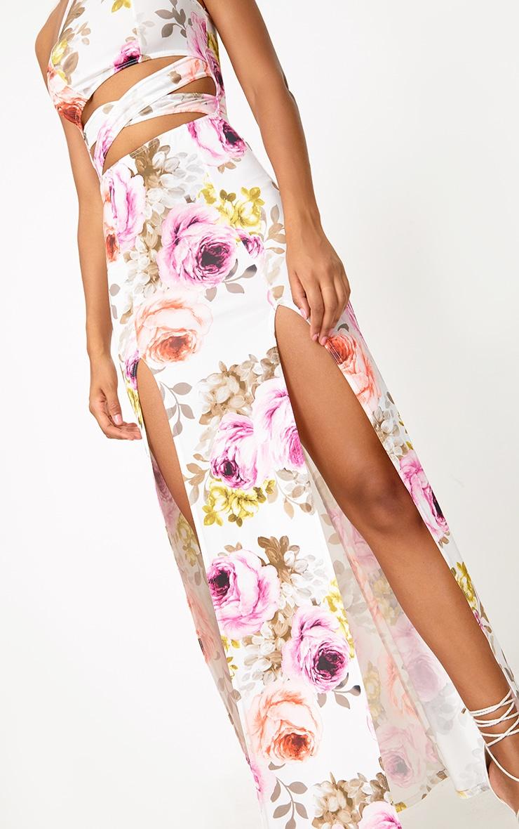 White Floral Cut Out Waist Maxi Dress  5