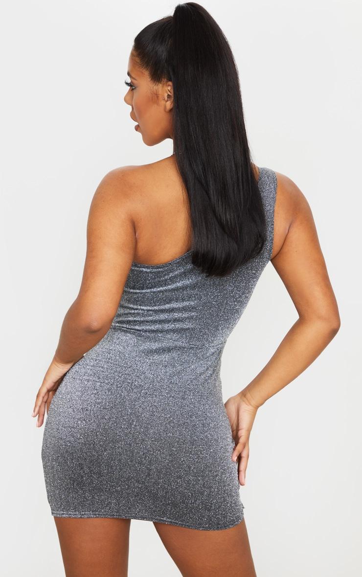 Silver Glitter One Shoulder Pleat Detail Bodycon Dress 2