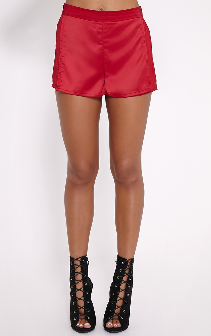 Bebe Red Panel Tailored Shorts 2
