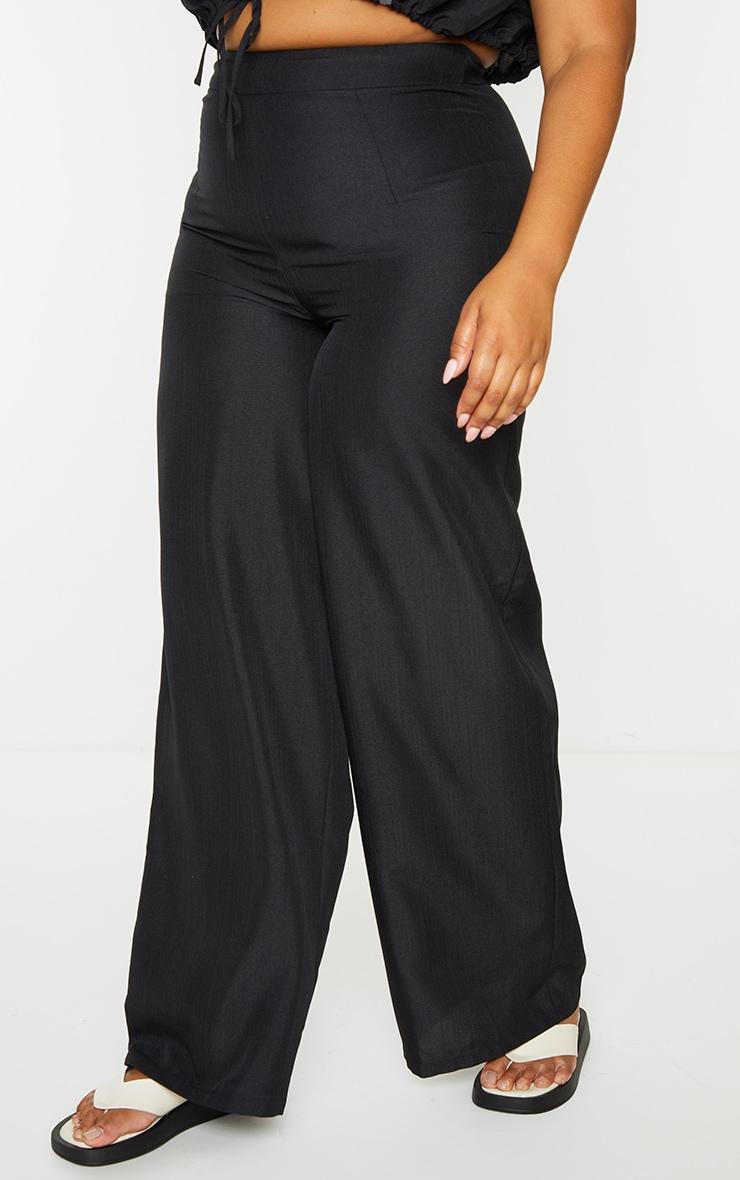 Plus Black High Waist Wide Leg Trousers 2