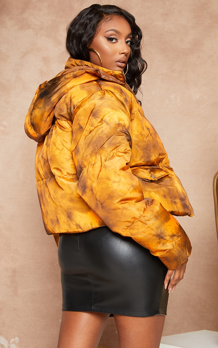 Orange Tie Dye Nylon Hooded Puffer Jacket 3