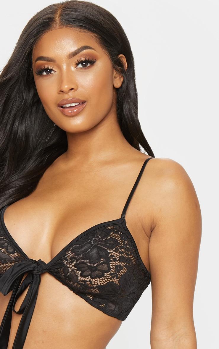 Shape Black Lace Tie Front Bra 5