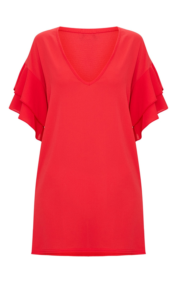 Red Double Frill Sleeve Shift Dress 3