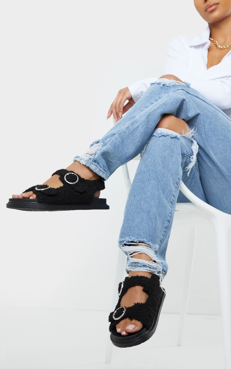 Black Faux Shearling Buckle Sandals 2