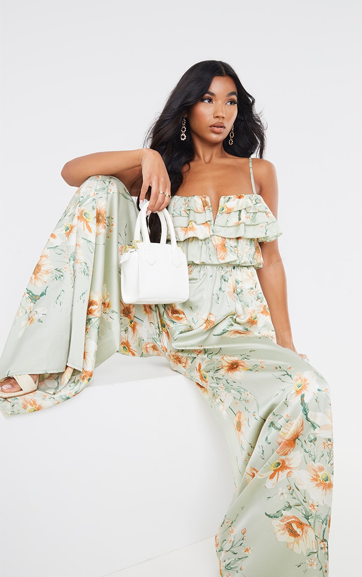 Sage Green Floral Strappy Ruffle Wide Leg Jumpsuit 4