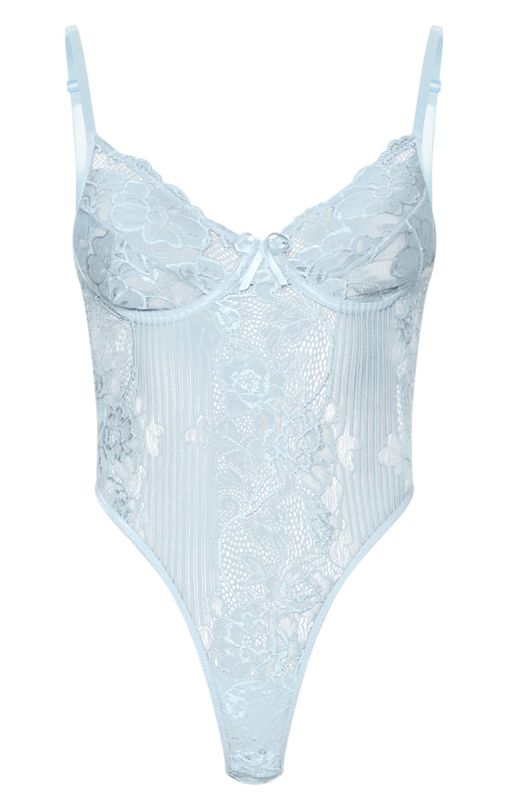 Powder Blue  High Leg Lace Insert Cupped Body 4