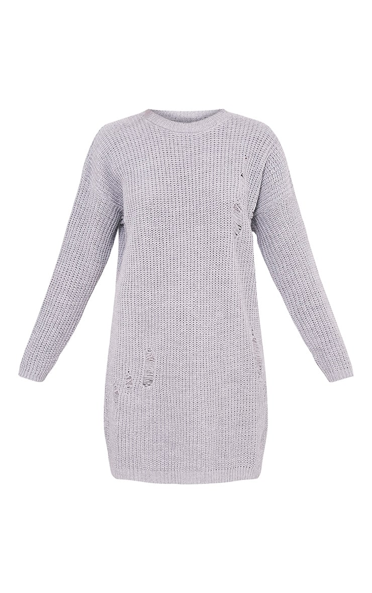Nico Distressed Grey Oversized Knitted  Dress 3