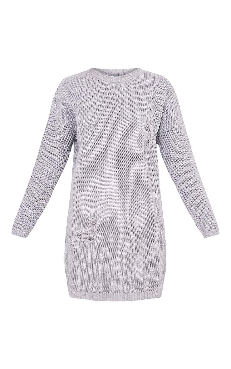 Nico robe pull surdimensionnée grise aspect vieilli 3