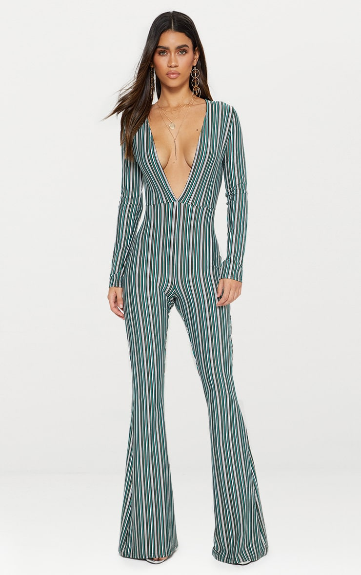 Green Striped Long Sleeve Plunge Jumpsuit  1