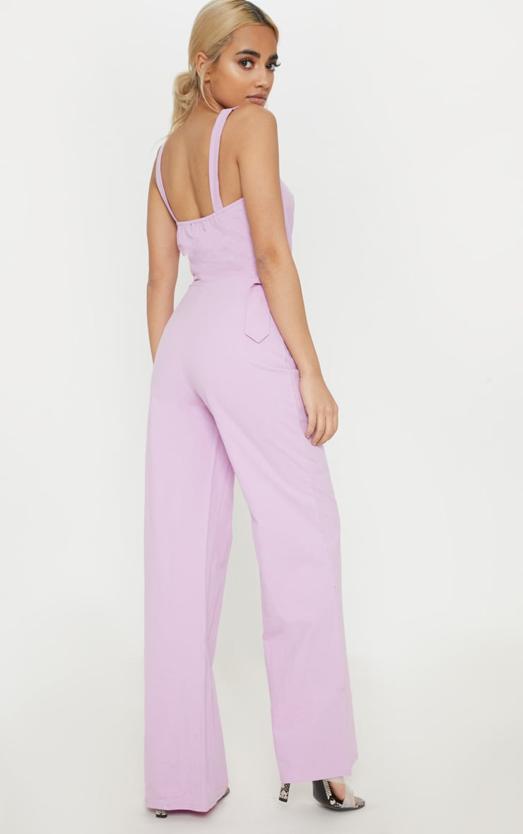 Petite Lilac Wide Leg Square Pocket Button Jumpsuit 2