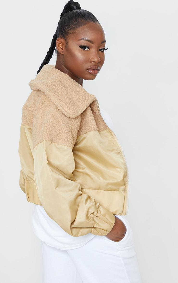 Petite Sand Borg Contrast Nylon Zip Through Jacket 2