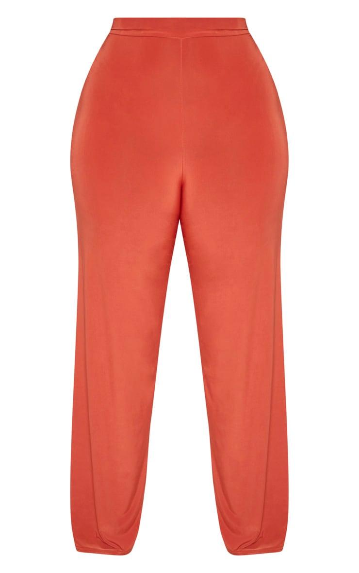 Plus Rust Slinky Wide Leg Trousers 3
