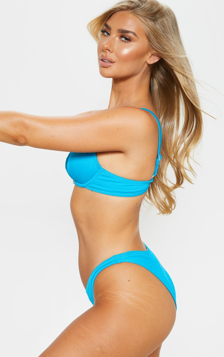 Turquoise Ribbed High Leg Bikini Bottom 2