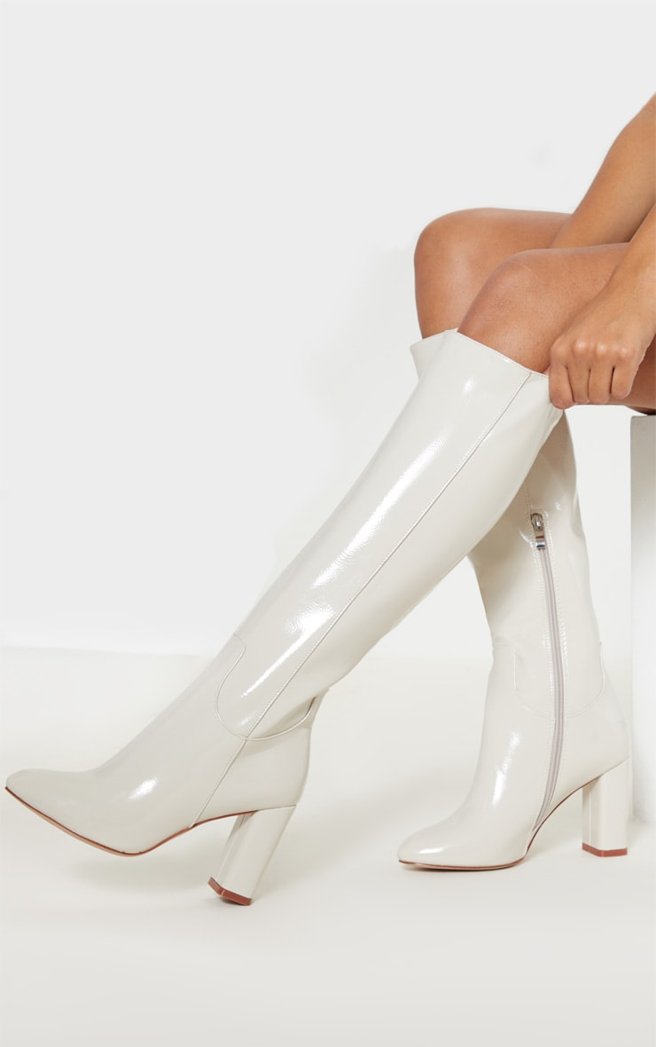 White Block Heel Patent Calf Boot 1