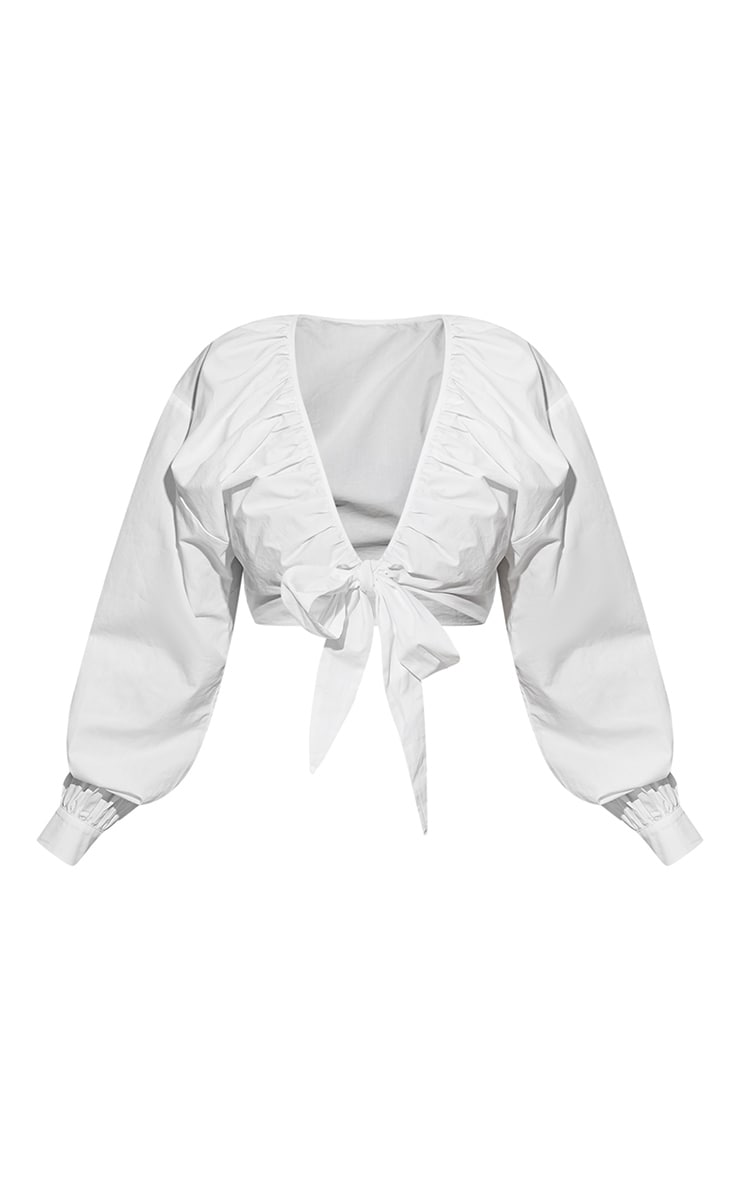 Plus White Tie Front Ruched Blouse 6