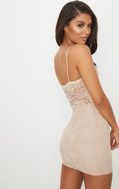 Stone Lace Panelled Hook And Eye Detail Bodycon Dress