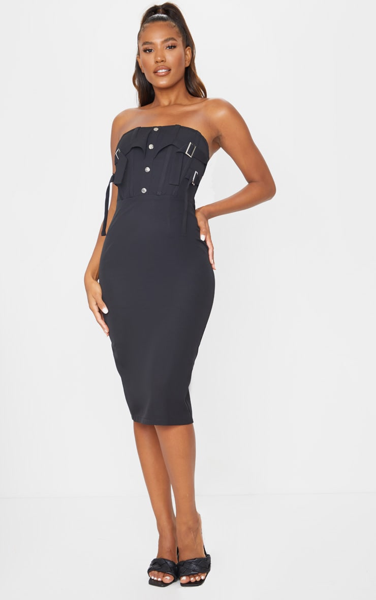 Black Bandeau Binded Buckle Corset Midi Dress