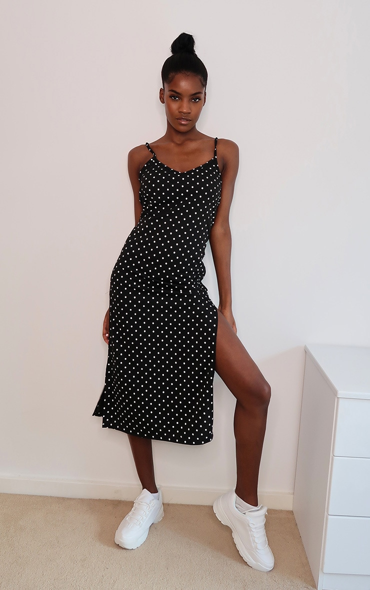 Black Polka Dot Print Jersey Split Cami Midi Dress 1