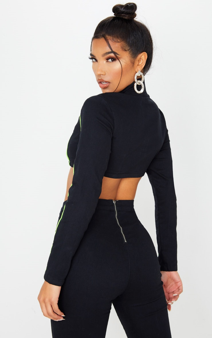 Black Super Stretch Contrast Neon Stitch Zip Through Crop Top 2