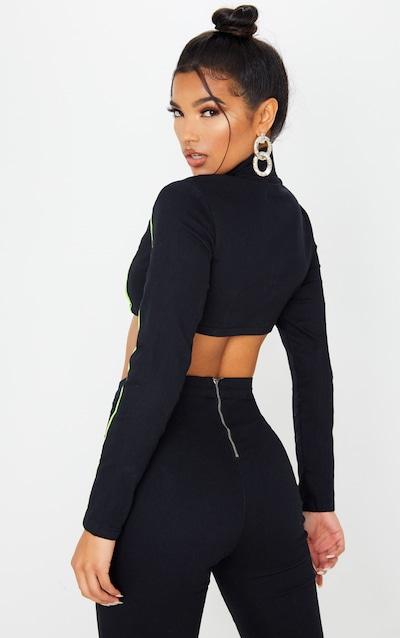Black Super Stretch Contrast Neon Stitch Zip Through Crop Top