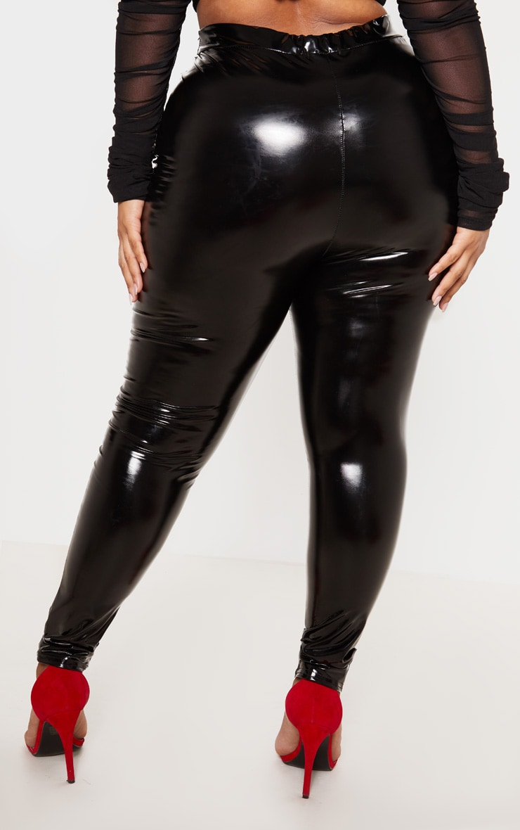 Plus Black Vinyl Leggings 5