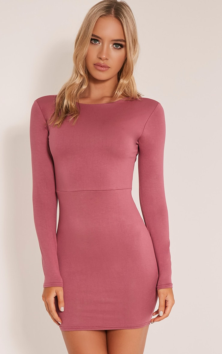 Marcy Rose Strappy Back Long Sleeve Bodycon Dress 1