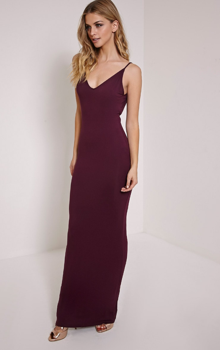 Basic Berry Scoop Back Maxi Dress 3