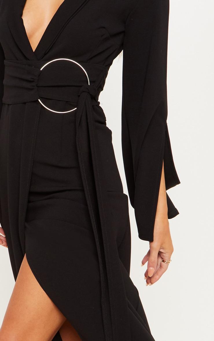 Black Ring Detail Maxi Blazer Dress 5