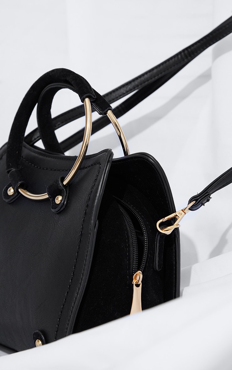Black Hoop Handle Shoulder Bag 4