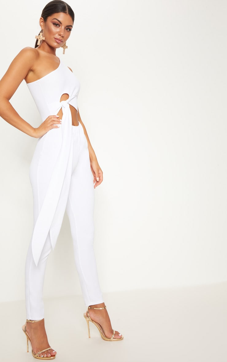 White Crepe One Shoulder Tie Front Jumpsuit 4